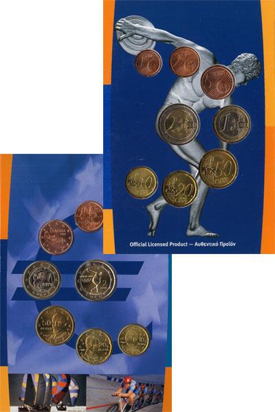 Изображение Подарочные монеты Греция Олимпийские игры-2004 в Афинах 2004  UNC Подарочный набор евр