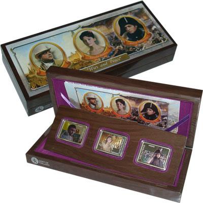 Изображение Подарочные монеты Острова Кука Война и мир 2012 Серебро Proof `Подарочный набор, с