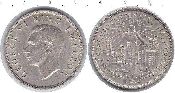 Картинка Мелочь Новая Зеландия 1/2 кроны Серебро 1940
