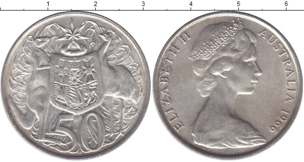 Картинка Мелочь Австралия 50 центов Серебро 1966