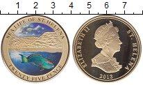 Изображение Мелочь Остров Святой Елены 25 пенсов 2013 Позолота Proof Подводный мир Остров