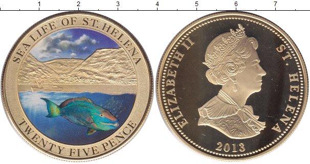 Картинка Мелочь Остров Святой Елены 25 пенсов Позолота 2013