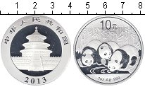 Изображение Мелочь Китай 10 юаней 2013 Серебро Proof Панды