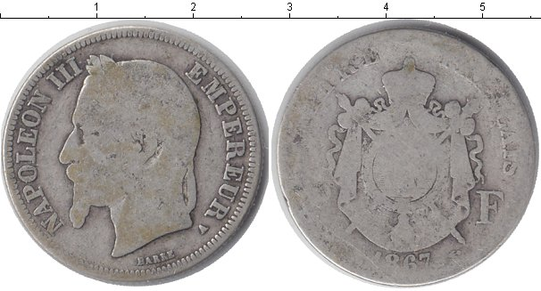 Картинка Монеты Франция 2 франка Серебро 1867