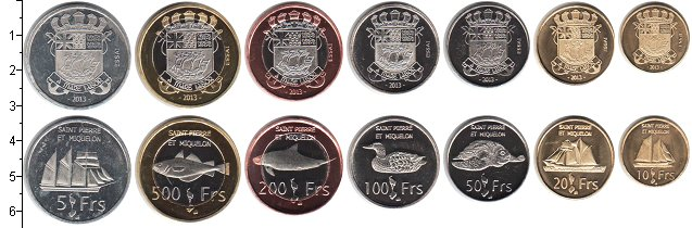 Изображение Наборы монет Сен-Пьер и Микелон Сен-Пьер и Микелон 2013 2013  UNC- В наборе 7 монет ном