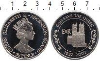 Изображение Мелочь Аскенсион 50 пенсов 2002  Proof- Елизавета II. 50 лет