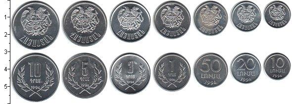 Изображение Наборы монет Армения Армения 1994 1994 Алюминий UNC- В наборе 7 монет ном