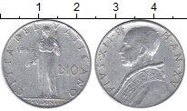 Изображение Мелочь Ватикан 10 лир 1953 Алюминий XF