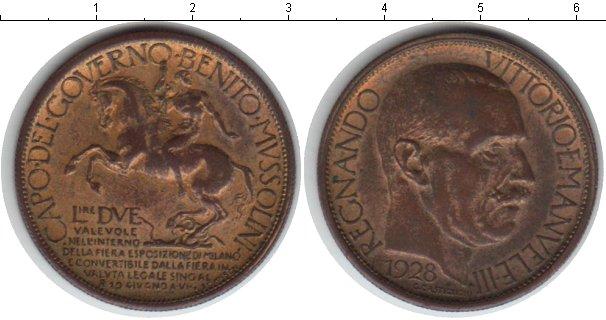 Картинка Монеты Италия 2 лиры Позолота 1928