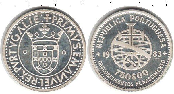 Картинка Монеты Португалия 750 эскудо Серебро 1983