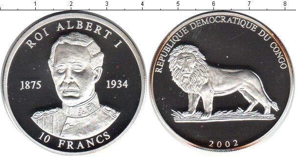 Картинка Монеты Конго 10 франков Серебро 2002