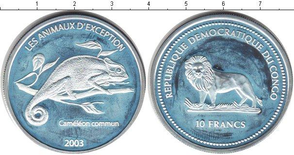 Картинка Монеты Конго 10 франков Серебро 2003