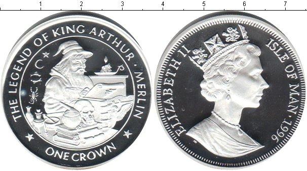 Картинка Монеты Остров Мэн 1 крона Посеребрение 1996