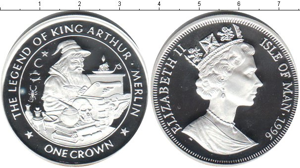 Картинка Монеты Остров Мэн 1 крона Серебро 1996