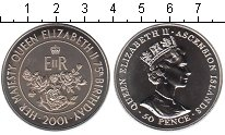 Изображение Мелочь Остров Вознесения 50 пенсов 2001 Медно-никель UNC-