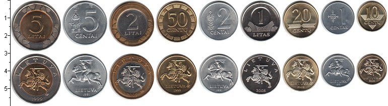 Изображение Наборы монет Литва Литва 1991-2010 0  UNC В наборе 9 монет ном