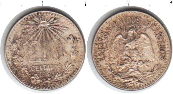 Картинка Монеты Мексика 20 сентаво Серебро 1943