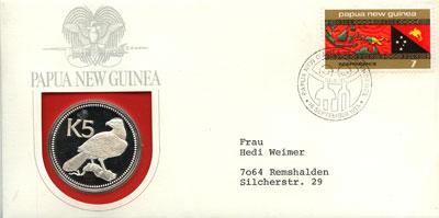 Изображение Подарочные монеты Папуа-Новая Гвинея 5  кин 1975 года 1975 Серебро Proof Подарочная монета 5