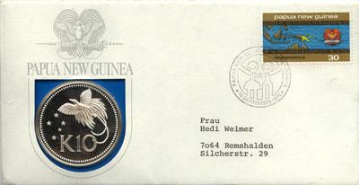 Изображение Подарочные монеты Папуа-Новая Гвинея 10 кин 1975 Серебро Proof