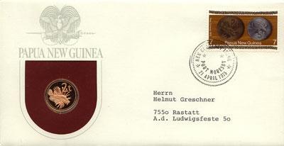 Изображение Подарочные монеты Папуа-Новая Гвинея 2 тоа 1975  Proof Подарочная монета 2