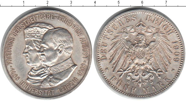 Картинка Монеты Саксония 5 марок Серебро 1909