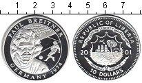 Изображение Монеты Либерия 10 долларов 2001 Серебро Proof- Пауль Брейтнер