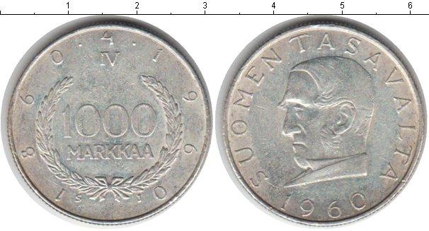Картинка Монеты Финляндия 1.000 марок Серебро 1960