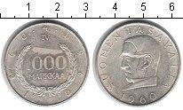 Изображение Монеты Финляндия 1000 марок 1960 Серебро XF 100-летие введения ф