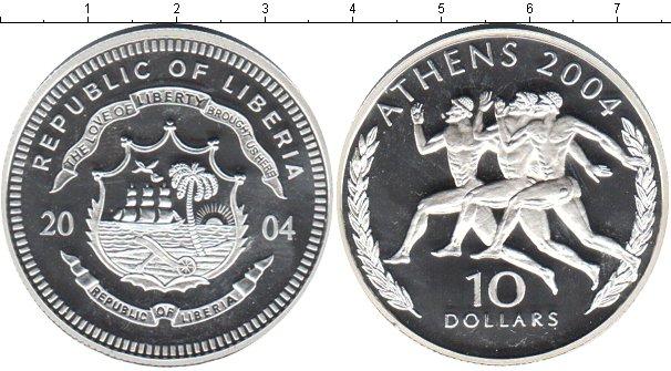 Картинка Монеты Либерия 10 долларов Серебро 2004