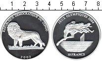 Изображение Монеты Конго 10 франков 2003 Серебро Proof- Олимпиада в Афинах 2