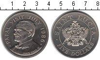 Изображение Мелочь Сент-Люсия 5 долларов 1986 Медно-никель UNC Визит папы Иоанна Па