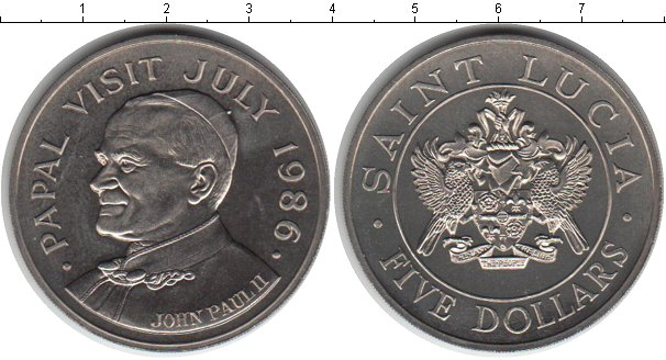 Картинка Мелочь Сент-Люсия 5 долларов Медно-никель 1986