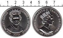 Изображение Мелочь Тристан-да-Кунья 50 пенсов 2001 Медно-никель UNC- 75 летний Юбилей Ели