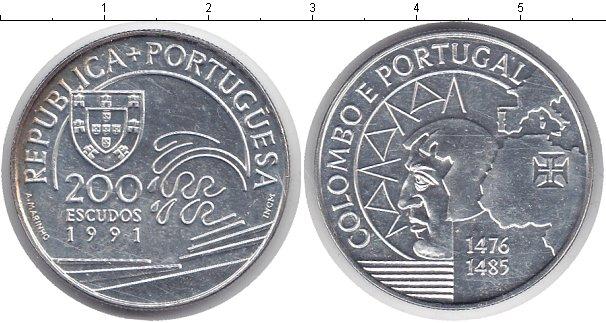 Картинка Монеты Португалия 200 эскудо Серебро 1991