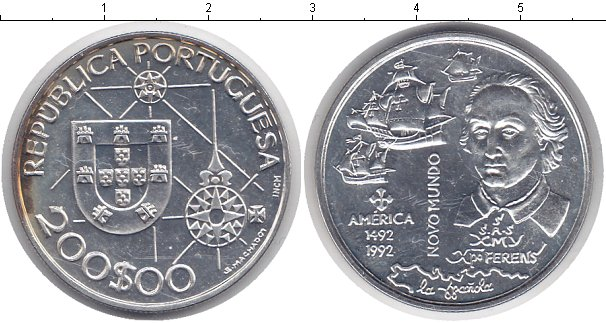 Картинка Монеты Португалия 200 эскудо Серебро 1992