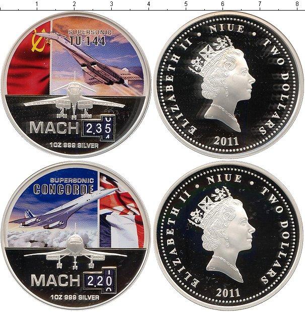 Картинка Подарочные монеты Ниуэ Знаменитые самолёты Серебро 2011