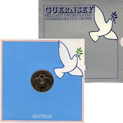 Изображение Подарочные монеты Гернси 2 фунта 1985 Медно-никель UNC Подарочная монета ос