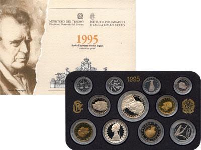 Изображение Подарочные монеты Италия Италия 1995 1995  Proof Подарочный набор пос