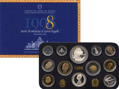 Изображение Подарочные монеты Италия Италия 1998 1998  Proof Подарочный набор мон