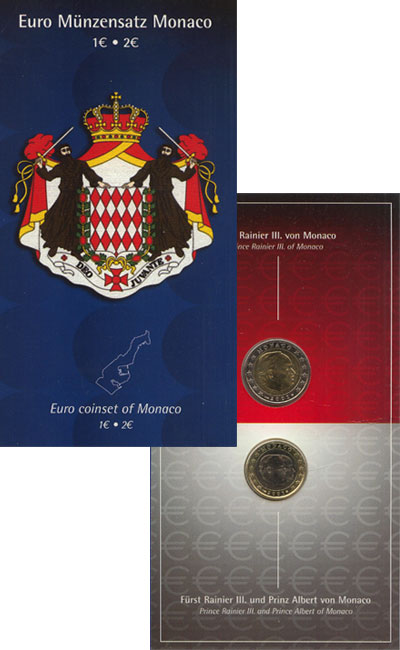 Изображение Подарочные монеты Монако Евронабор 2001 года 2001 Биметалл UNC- Подарочный набор нах