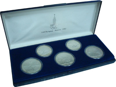 Изображение Подарочные монеты СССР Олимпийские игры 1980 1978 Серебро UNC- Подарочный набор мон