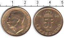 Изображение Мелочь Люксембург 5 франков 1990 Медь XF Великий герцог Жан