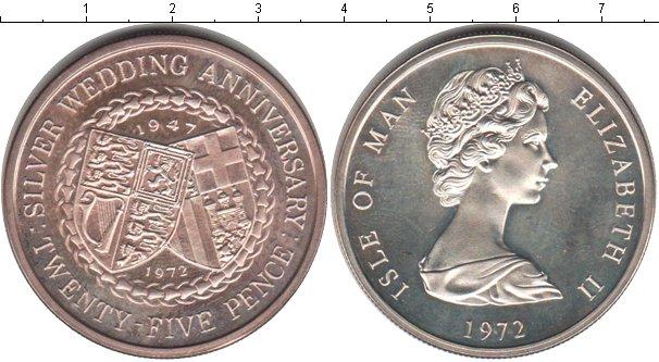 Картинка Монеты Остров Мэн 25 пенсов Серебро 1972
