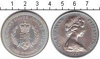 Изображение Монеты Остров Мэн 1 крона 1977 Серебро Proof- Серебрянный юбилей п