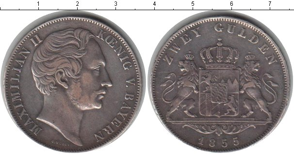 Картинка Монеты Бавария 2 гульдена Серебро 1855
