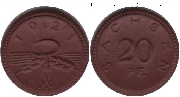 Картинка Монеты Саксония 20 пфеннигов Керамика 1921