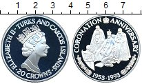 Изображение Монеты Теркc и Кайкос 20 крон 1993 Серебро Proof 40-летие коронации Е
