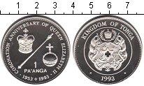 Изображение Монеты Тонга 1 паанга 1993 Серебро Proof 40-летие коронации Е