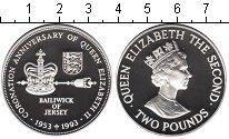 Изображение Монеты Остров Джерси 2 фунта 1993 Серебро Proof 40-летие коронации Е