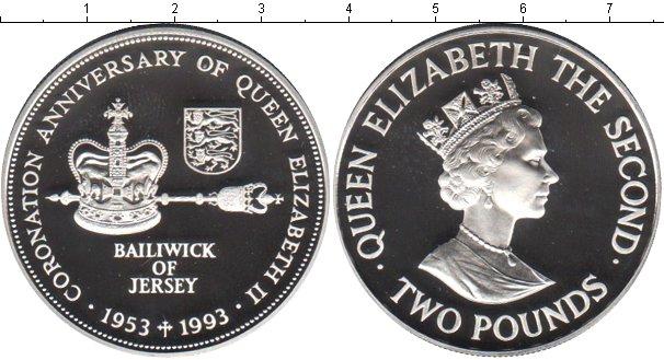 Картинка Монеты Остров Джерси 2 фунта Серебро 1993